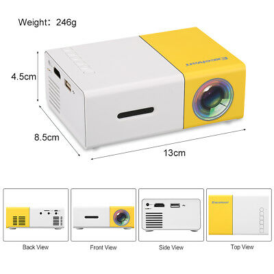 New Mini Pocket LED Home Cinema Projector HD 1080P Portable Cinema HDMI USB AUS