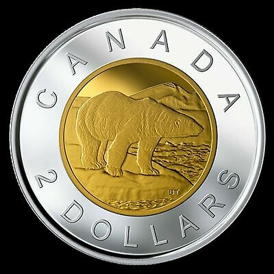 2019 Canada Classic design Toonie $2 proof finish 99.99% silver coin gold plated