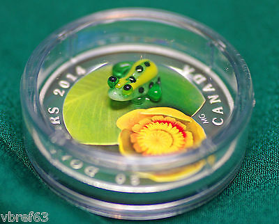2014 Canada $20 Water Lily & Frog Murano glass 99.99% silver