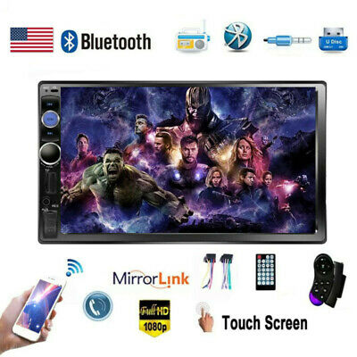 """Car Stereo Radio Bluetooth Audio Receiver Double 2 Din 7"""" USB AUX IOS/Android"""
