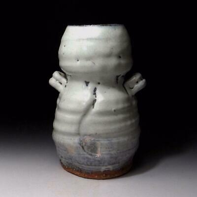 6R6: Japanese Vase, Hagi Ware by Famous Potter, Seigan Yamane, White, 9 inches