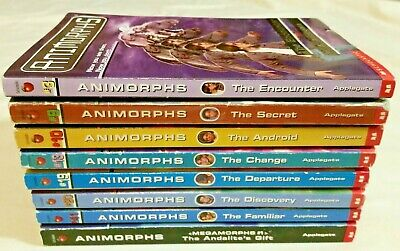 Lot 8 Animorphs Paperback Children's Books by K.A. Applegate (Stickers/Postcard)