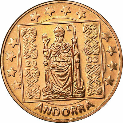 [#731464] Andorra, Fantasy euro patterns, 5 Euro Cent, 2003, FDC, Copper Plated