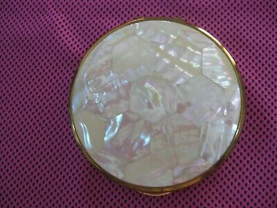 Vintage KIGU Mother of Pearl Powder Compact - as new in pouch - never used