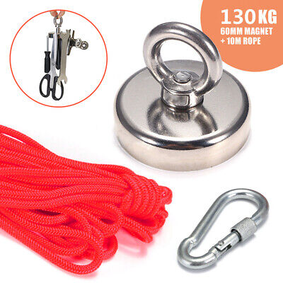 130kg Pull Recovery Magnet Fishing Treasure Metal Detector With 10 Metre Rope