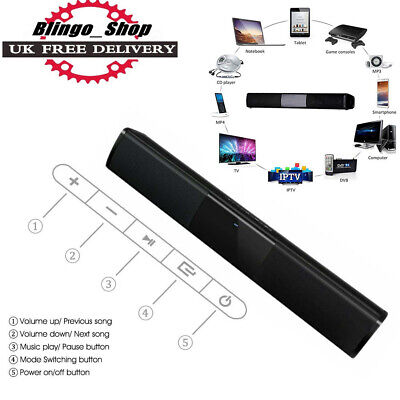 Wireless Bluetooth 4.0 Soundbar 2 Speakers Sound Bar TV Phones MP3 Subwoofer RCA