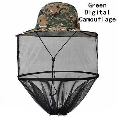2x Face Travel Mosquito Camping Midge Net Insect Mesh Protector Hat Head Bug UK