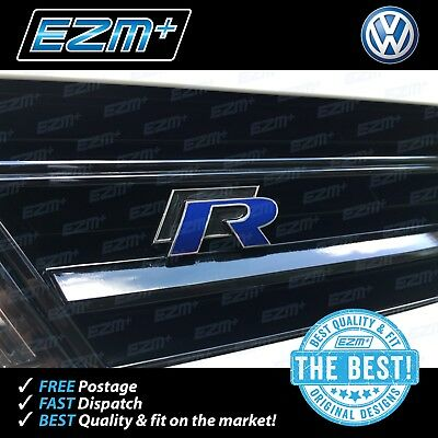 EZM VW Golf R 7 MK7 MK7.5 Facelift 'R' Badge Overlay Stickers Decals x 4 BLUE