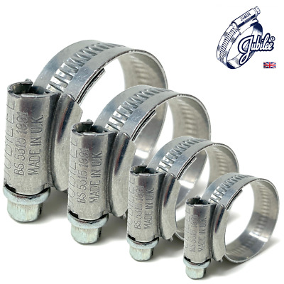 JUBILEE® HOSE CLIPS / CLAMPS - MILD STEEL - UK - Pack Qty's: 1, 4, 8, 20, 25