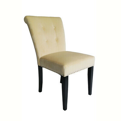 Beige Velvet Studded Dining Occasional Bedroom Chair Chrome Back Knocker Ring Pu