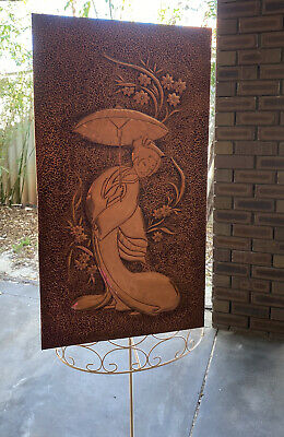 Vintage Art Nouveau Hand Engraved Brass Design Japanese Lady Geisha In Kimono