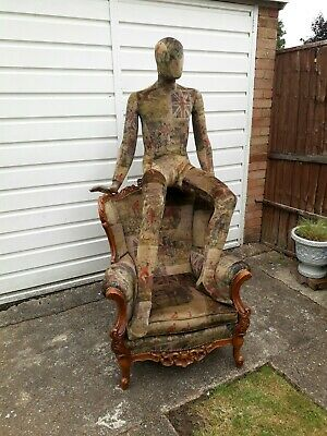 Antique wing back chair Vintage Fox Hunting theme.Country pub.show piece. Equine