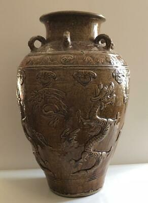 China Or Southeast Asia 17Th-18Th C Martaban Ware Brown Glazed Storage Jar Large