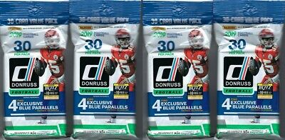 (4) 2019 Panini DONRUSS Football NFL Trading Cards 30c FAT PACK LOT=120 Cards