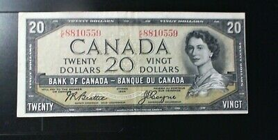 1954 Bank Of Canada $20.00 Banknote Beattie Coyne Modified Off Cut Variety