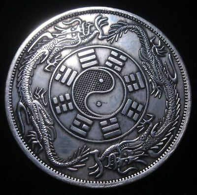 Palm Sized Huge Chinese Double Dragon Ying-Yang Coin Shaped Paperweight 88mm