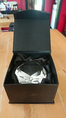 Crystal Paperweight, Clear, Round Diamond Cut, Mint in Box