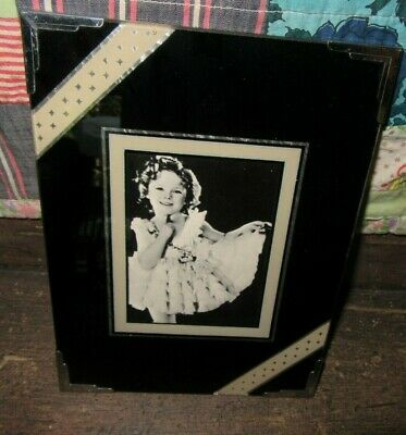Sweet Vintage 1930's Art Deco 3 x 4 Reverse Painted Glass Frame & Shirley Temple