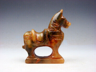Old Nephrite Jade Carved Sculpture Ancient Standing War Horse #07151907