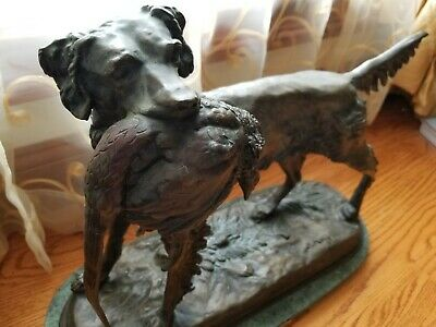 Setter with Pheasant on Marble Base by Moigniez - Antique Hunting Bronze Dog