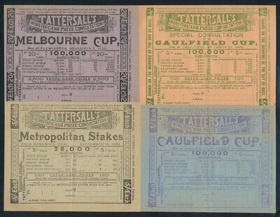 """Australia: HORSE RACING 1899 5/- & £1 Tattersall 4 SWEEPS INCL """"MELBOURNE CUP"""""""