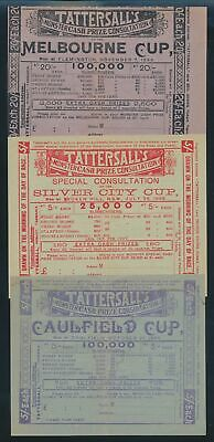 """Australia: HORSE RACING 1899 5/- & £1 Tattersall 9 SWEEPS INCL """"MELBOURNE CUP"""""""