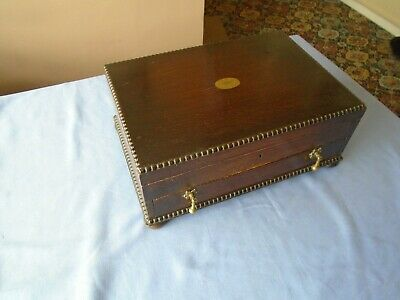 Vintage Large Oak Wood Canteen Of Cutlery Box Chest With Drawer  Storage Box