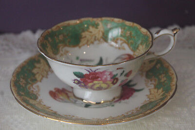 Beautiful Paragon Double Warrant Green White Floral Bouquet Tea Cup And Saucer