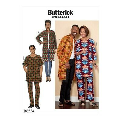 Butterick Sewing Pattern 6534 Misses'/Men's Coat, Tunic And Trousers