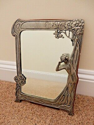 Art Nouveau Table / Cosmetic Mirror Antique Style With Lady