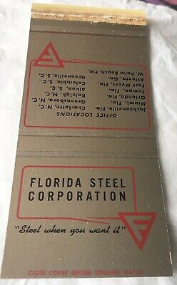 Matchbook Cover Florida Steel Corporation Miami West Palm Beach Raleigh