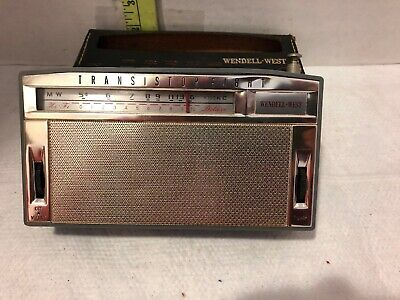 Vintage Wendell West Transistor Eight CR-18 AM Radio w Leather Case untested