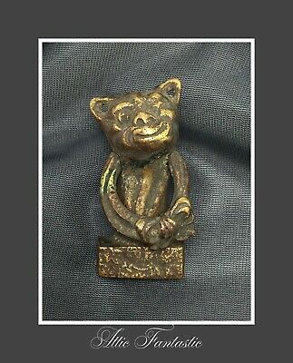 Vintage SMALL CHESHIRE CAT, WINKING GOTHIC CAT Antique Brass Door Knocker. VGC