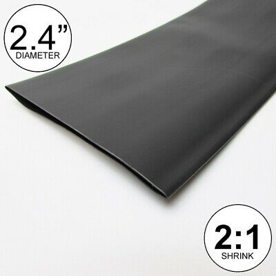 "2.4"" ID Black Heat Shrink Tube 2:1 ratio wrap (2x24""= 4 feet) inch/ft/to 60mm"