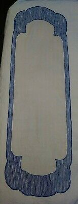 """Antique Linen early ARTS & CRAFTS Mission NOUVEAU Embroidered TABLE RUNNER 50"""""""
