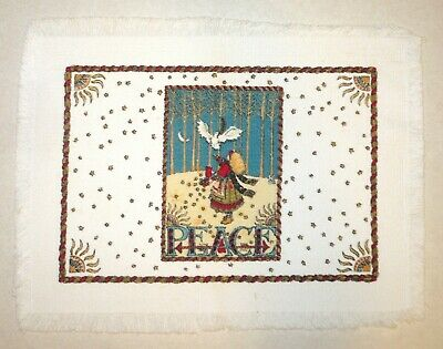 Mary Engelbreit * PEACE Placemat * Cloth * Fabric * Girl / Woman with Dove