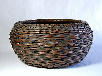 Large Antique Japanese Wicker Bamboo Woven Basket Signed On Bottom