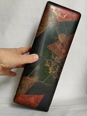 Edwardian Japanese Black Lacquer Glove/ Jewelry/ Trinket Box hand painted 1900's