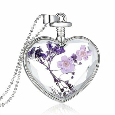 Love Heart Glass Locket Pendant Necklace Real Dried Flower Long Sweater Chain
