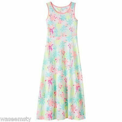 SO Strappy Maxi Long Pastel Tropical Floral Palm Tree Summer Print Dress Girl 10