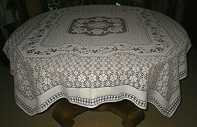 """Vintage Sheer Machine Lace Tablecloth, Ivory & Tan, 62"""" X 76"""", Gorgeous!!"""
