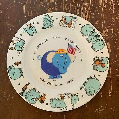 Vintage Everyone For Elephants Republican Party 1972 Plate