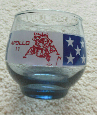 1969 Libbey Apollo 11 First  Man on the Moon Whiskey Juice glass blue tint