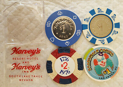4 Old Casino Chips from Nevada. ALL OBSOLETE