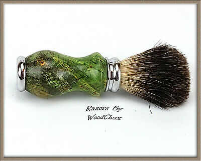 Handmade Boxelder Wood Silver Badger Hair Shaving Brush Made In USA Wood 286