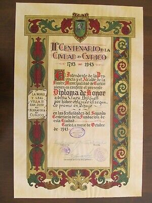 1943 - Chile - Old Diploma - City Bicentenary Painting Competition Of Curico