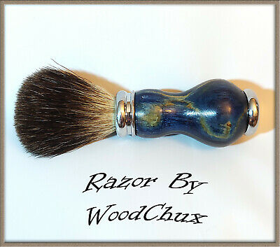 Handmade Boxelder Wood Silver Badger Hair Shaving Brush Made In USA Wood 288