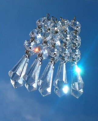 5x RARE GENUINE Vintage '60s Cut Lead Crystal Chandelier Glass Clear Bomb Drops