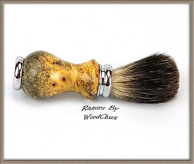 Handmade Buckeye Burl Wood Silver Badger Hair Shaving Brush Made In USA Wood 290