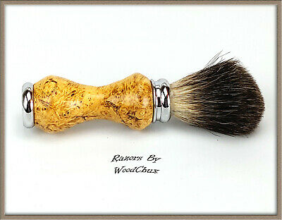 Handmade Boxelde Burl Wood Silver Badger Hair Shaving Brush Made In USA Wood 291